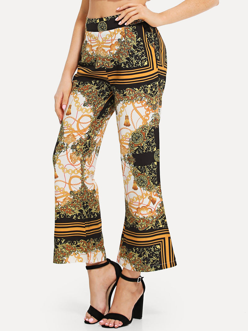 Baroque Print Flare Pants
