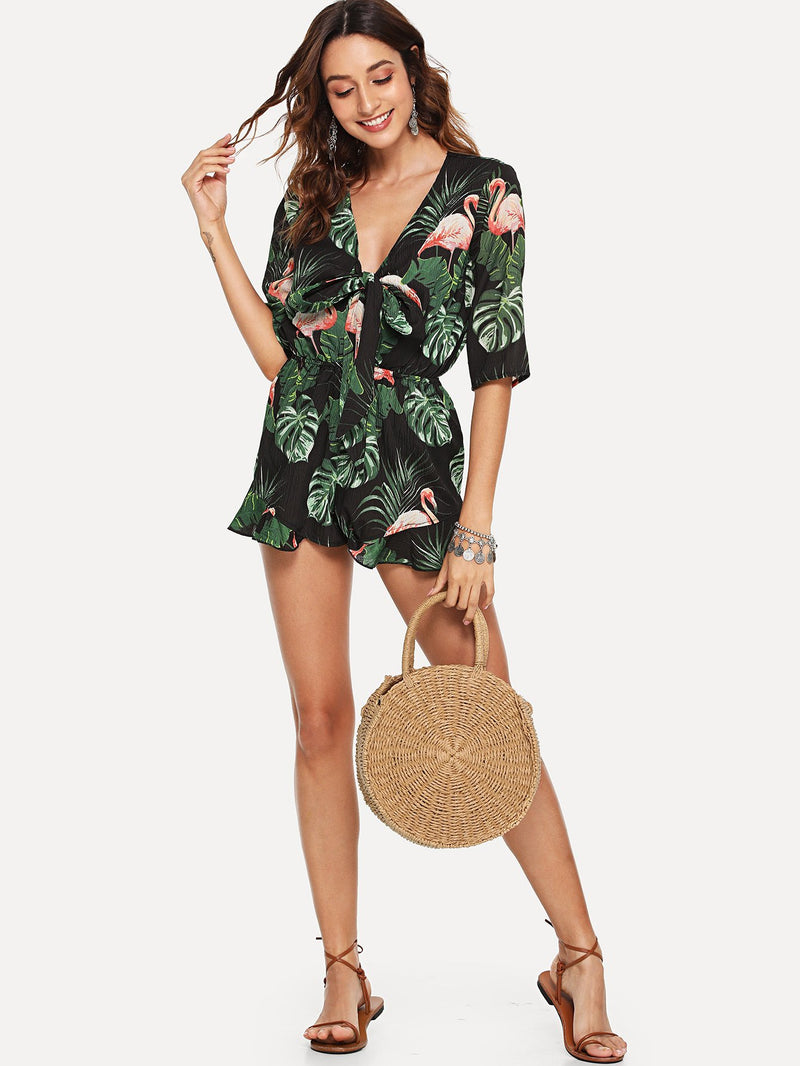 Botanical Print Knot Plunging Romper