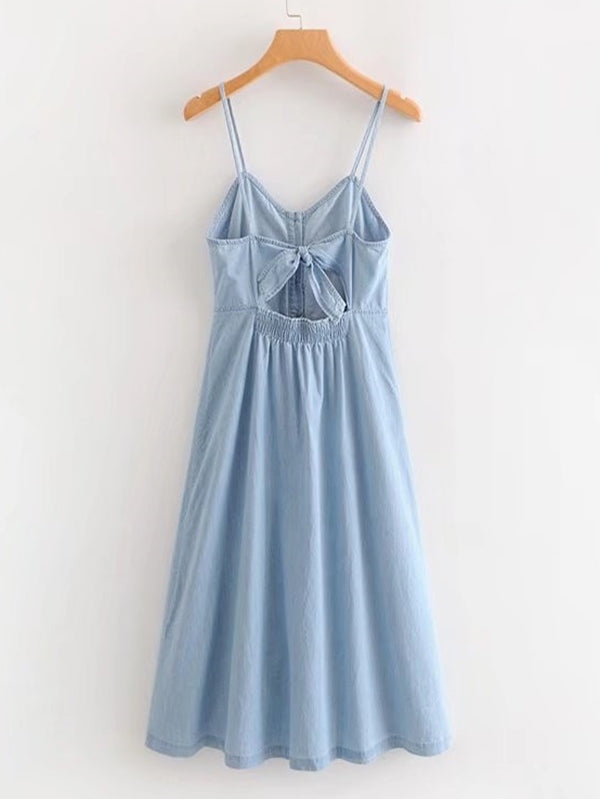 Button Through Denim Cami Dress
