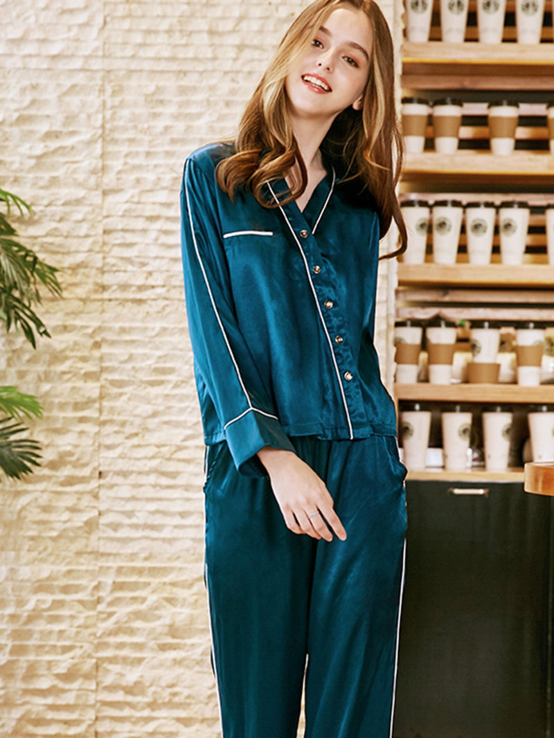 Contrast Binding Button Up Pajama Set