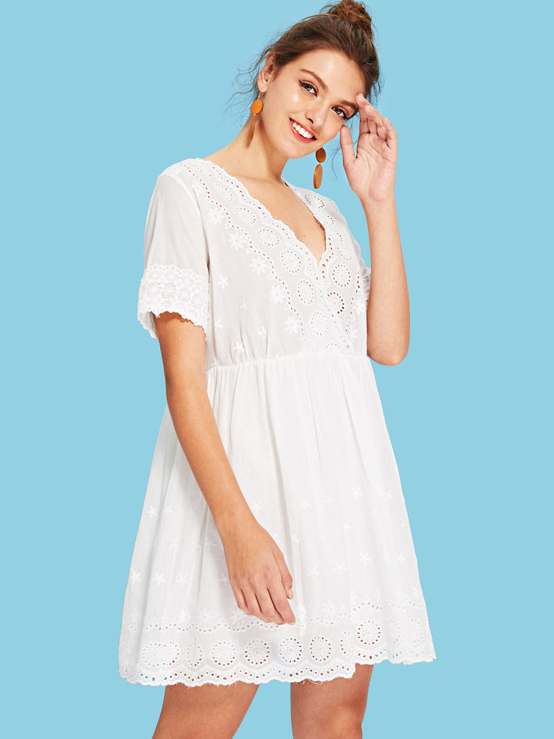 Eyelet Embroidery Scallop Trim Wrap Dress