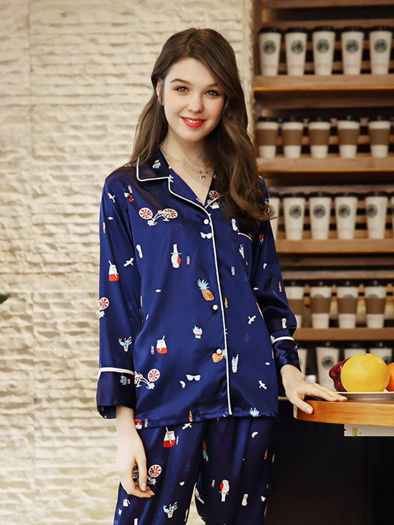 Cartoon Print Button Up Pajama Set