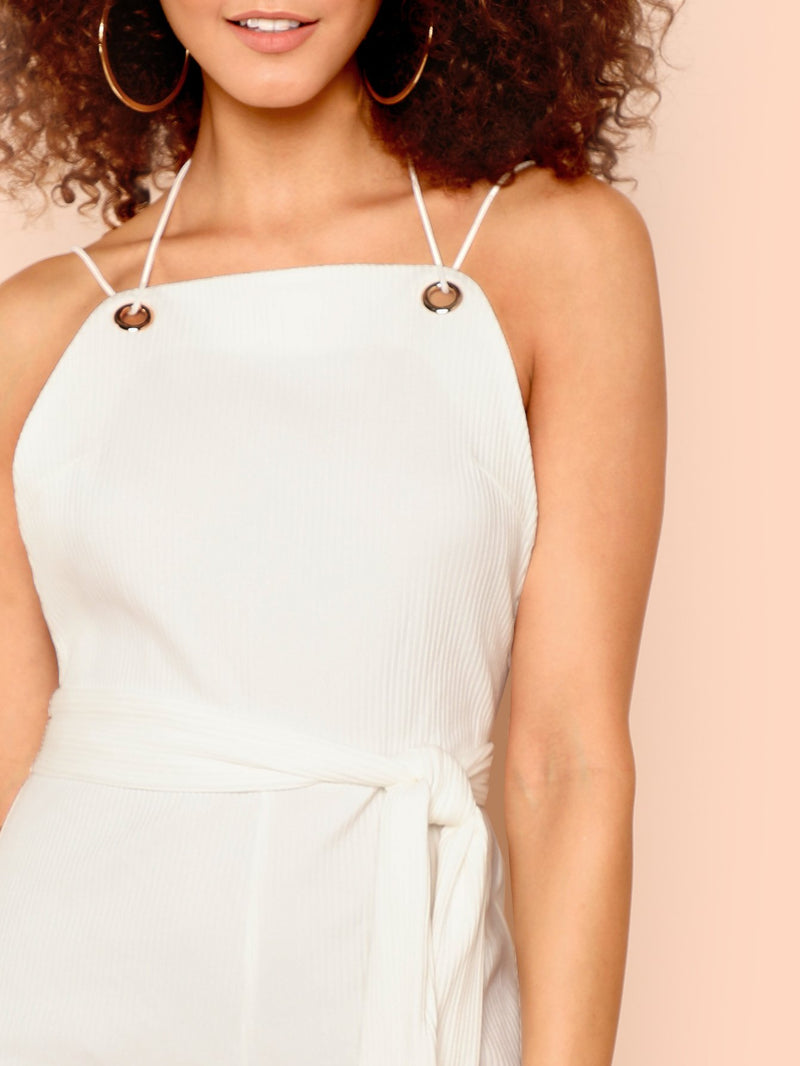 Belted Waist Rib Knit Jumpsuit