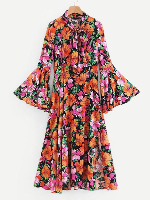 All Over Florals Flounce Sleeve Tie Neck Dress