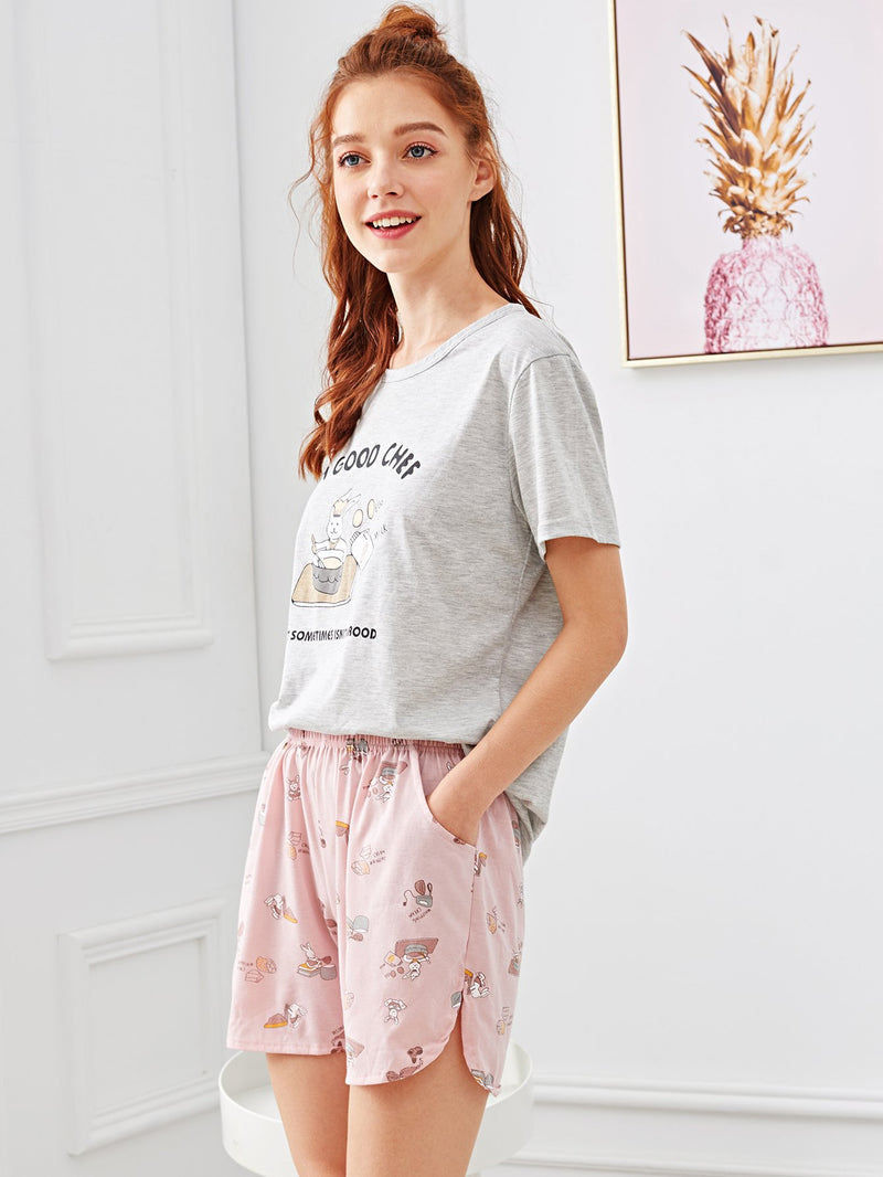 Cartoon & Letter Print Pajama Set