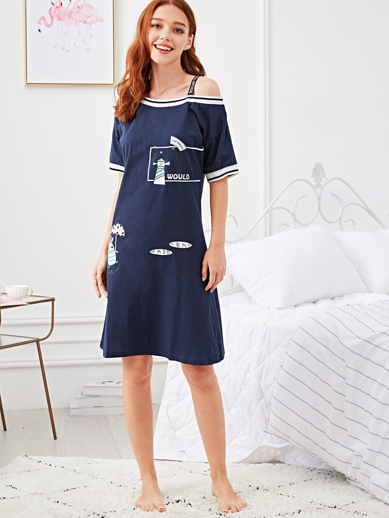Cartoon Print Open Shoulder Night Dress