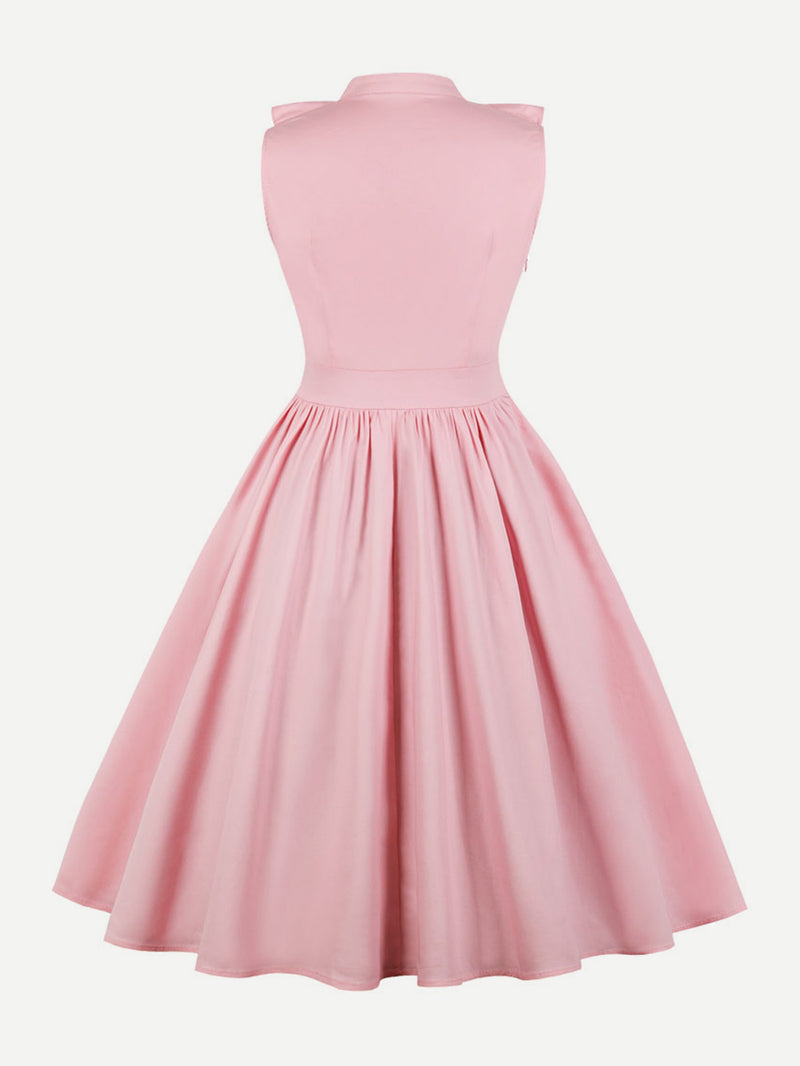 Button Detail Ruffle Trim Circle Dress