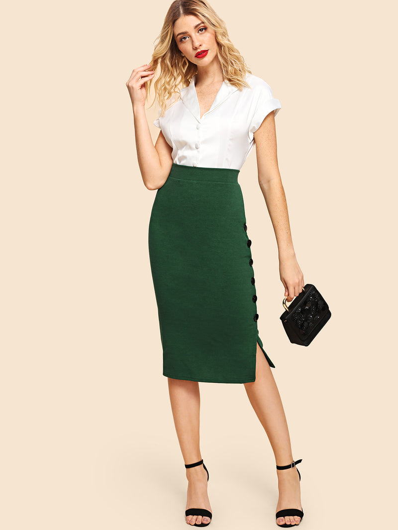 Button Detail Split Solid Skirt