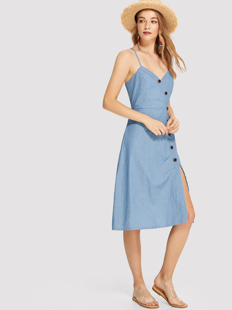 Button Up Sweetheart Cami Dress