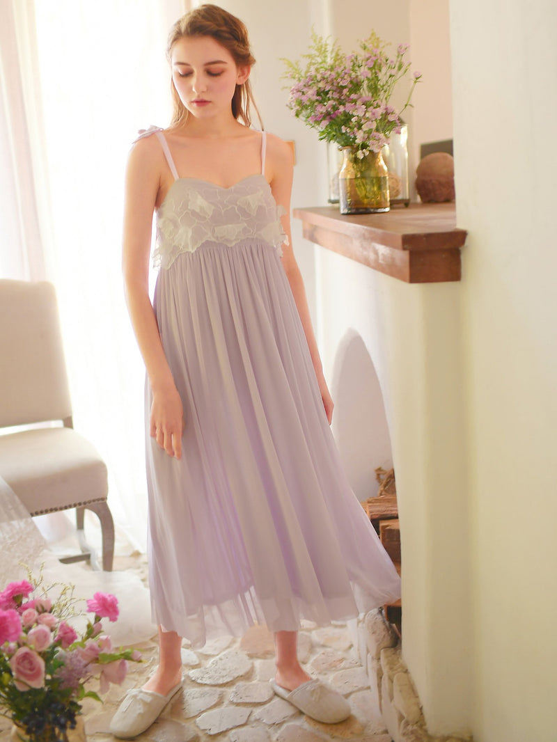 Applique Pleated Night Dress