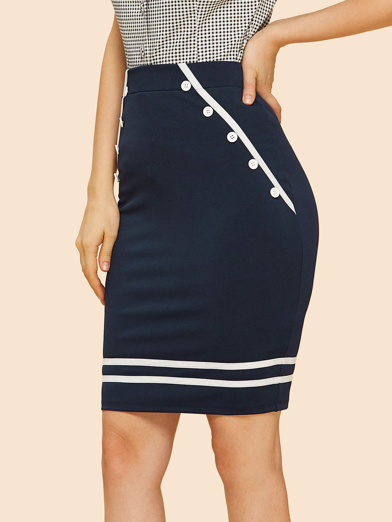 Contrast Striped Button Detail Skirt