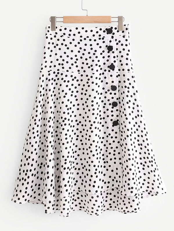 Button Detail Spot Skirt