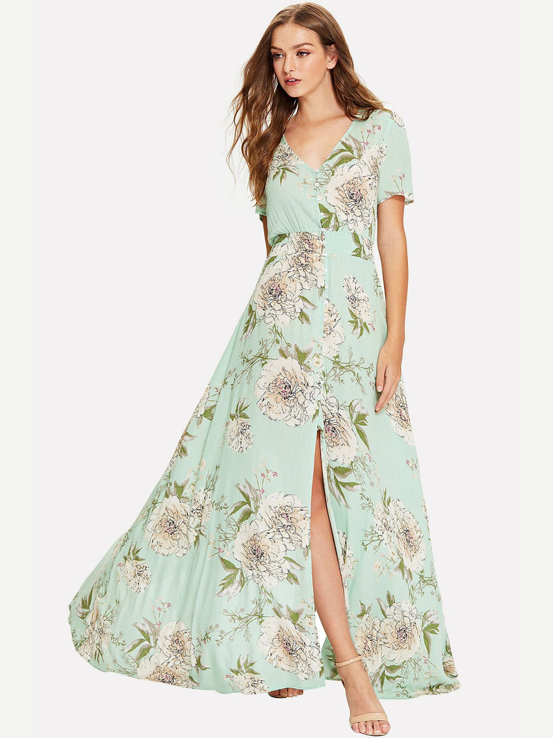 Button Up V Neck Floral Maxi Dress