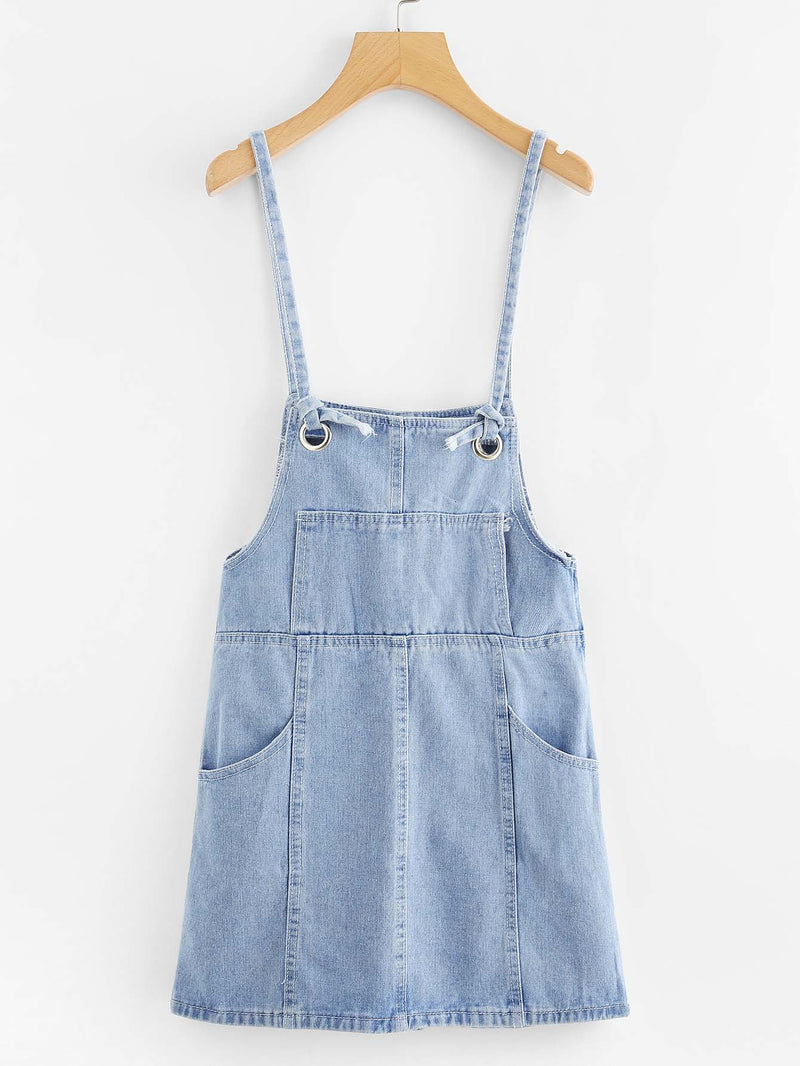 Bleach Wash Button Front Strap Denim Dress