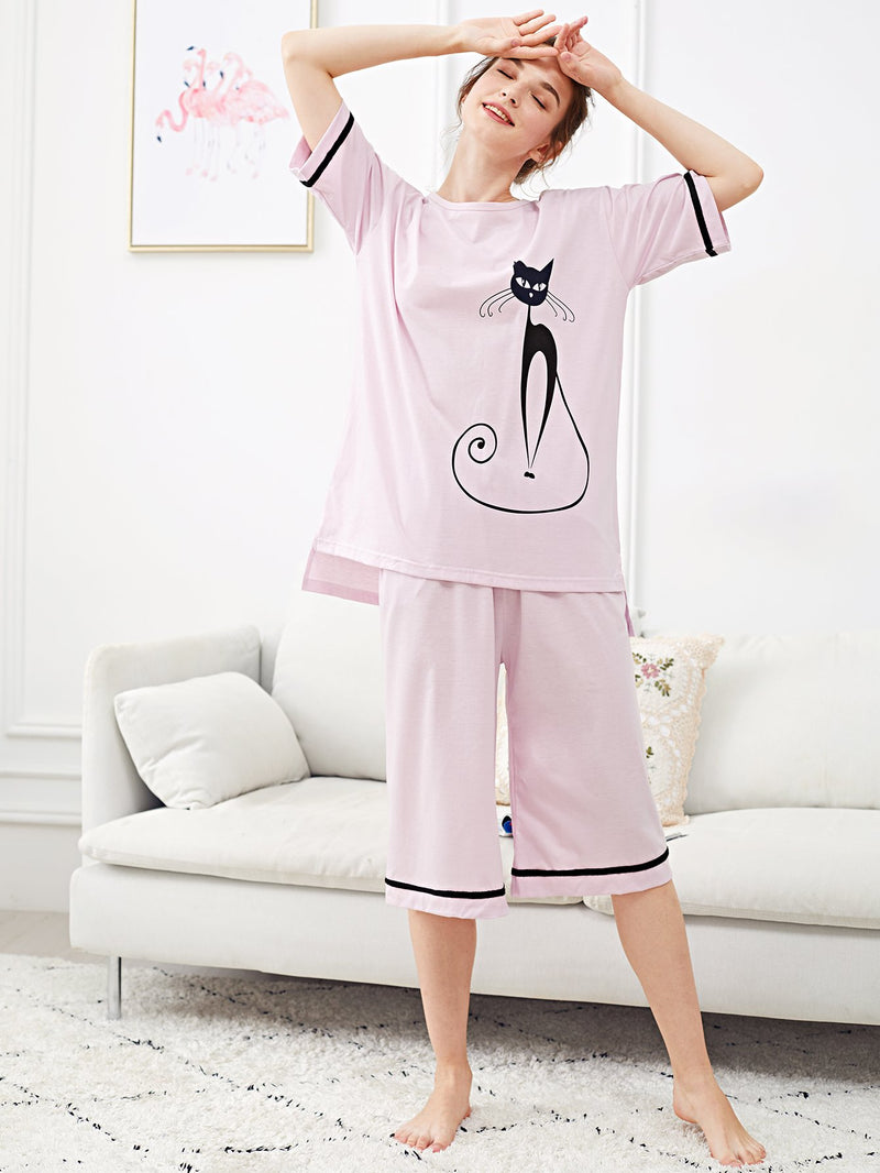 Contrast Binding Cat Print Pajama Set