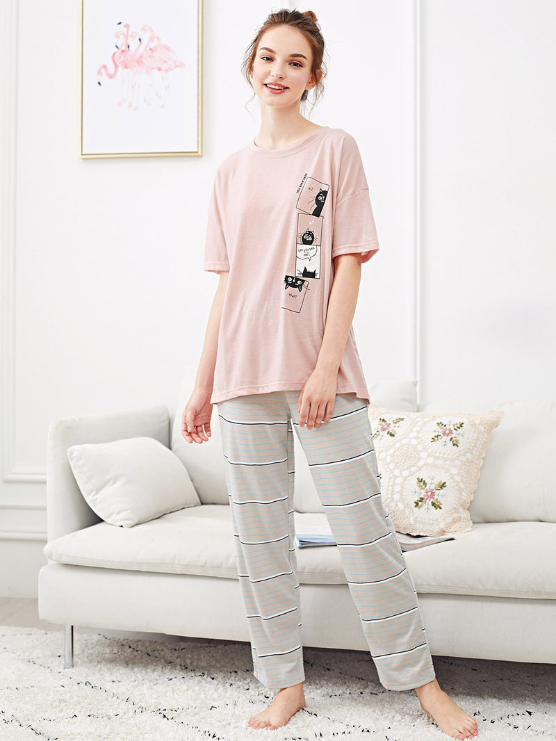 Cat Print Striped Pajama Set