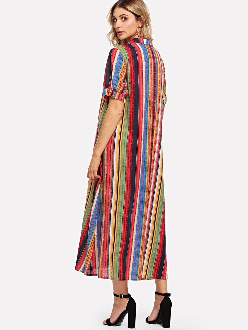 Colorful Striped Shirt Dress