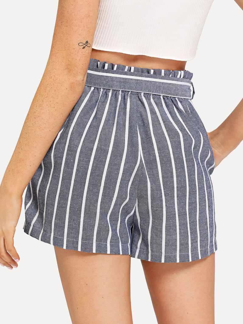 Adjustable Belted Striped Shorts