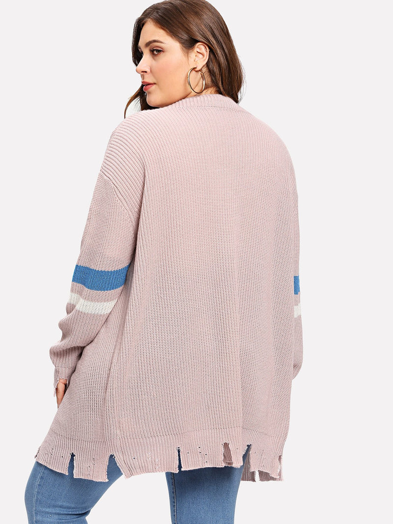Plus Striped Sleeve Raw Hem Knit Coat