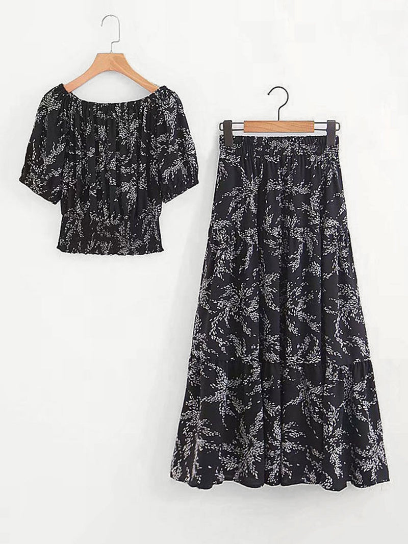 Calico Print Top With Skirt
