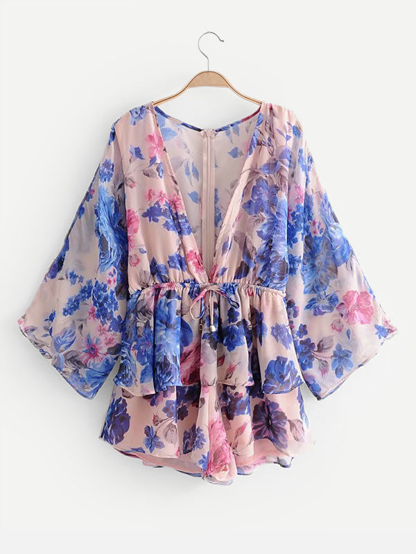 All Over Florals Drawstring Waist Romper