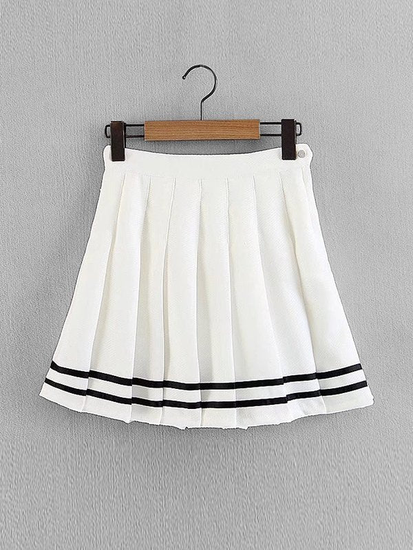 Contrast Stripe Panel Pleated Skirt