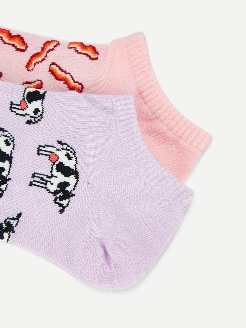 Animal Pattern Ankle Socks 2 Pairs