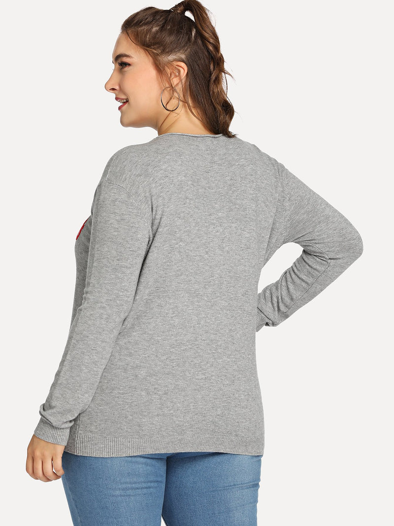 Plus Letter Print Slim Fitted Sweater