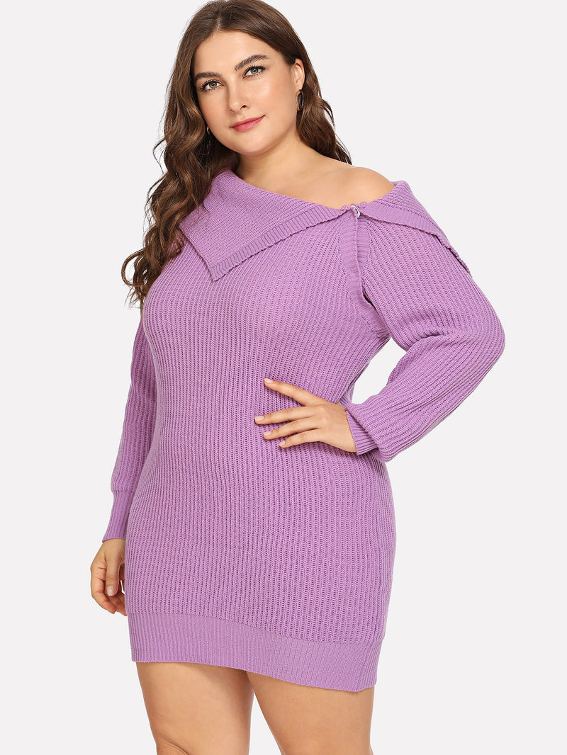 Plus Fold Over Asymmetrical Neck Solid Sweater Dress