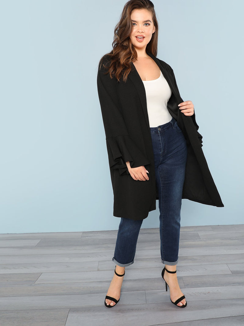 Plus Notch Collar Flounce Sleeve Longline Coat