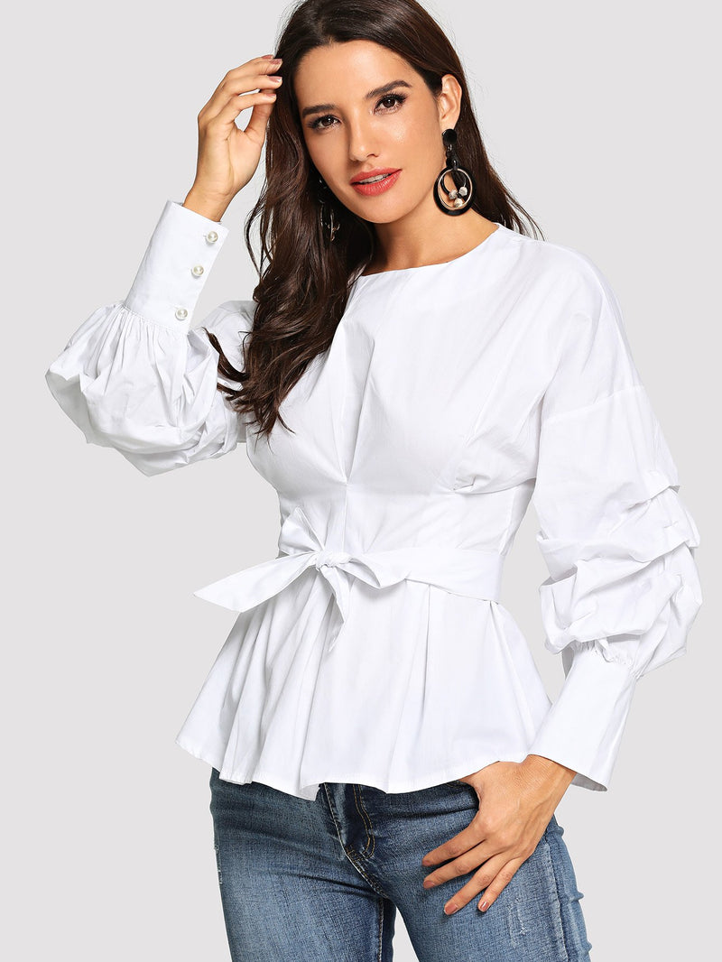 Bishop Sleeve Belted Blouse