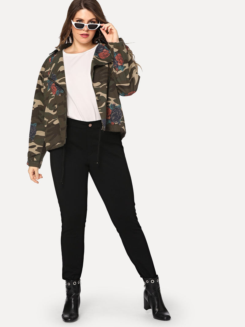 Plus Camo And Floral Print Jacket