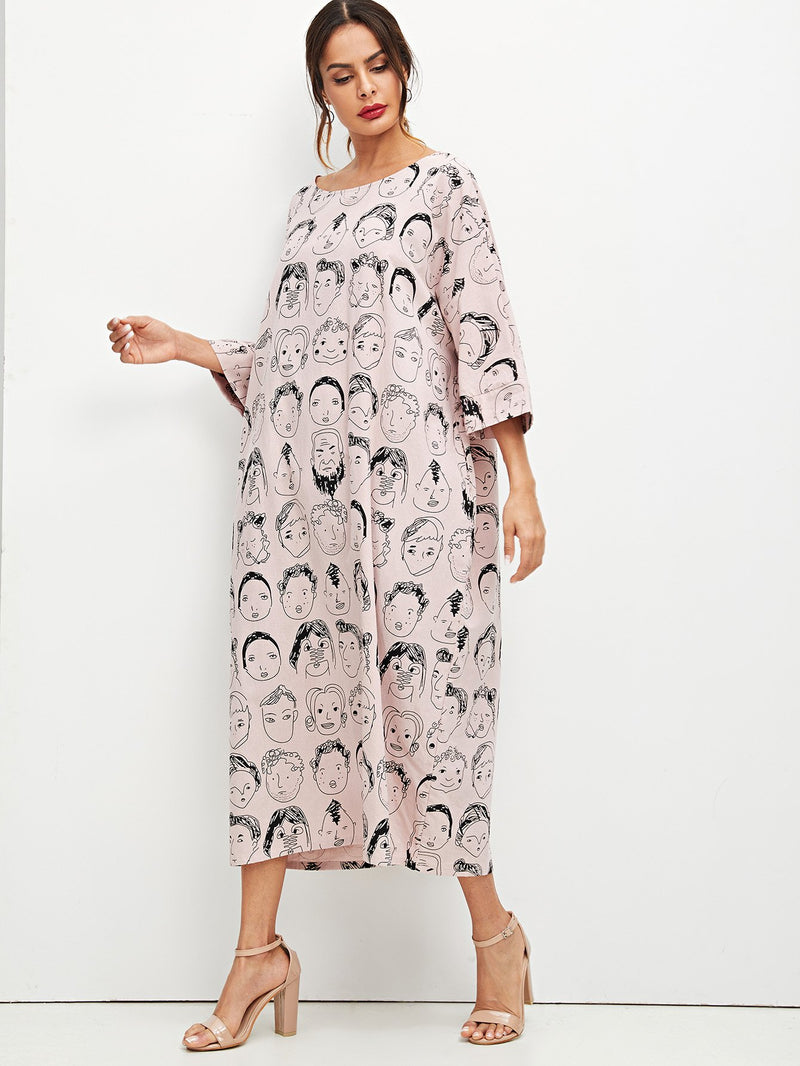 Allover Figure Print Oversized Dress