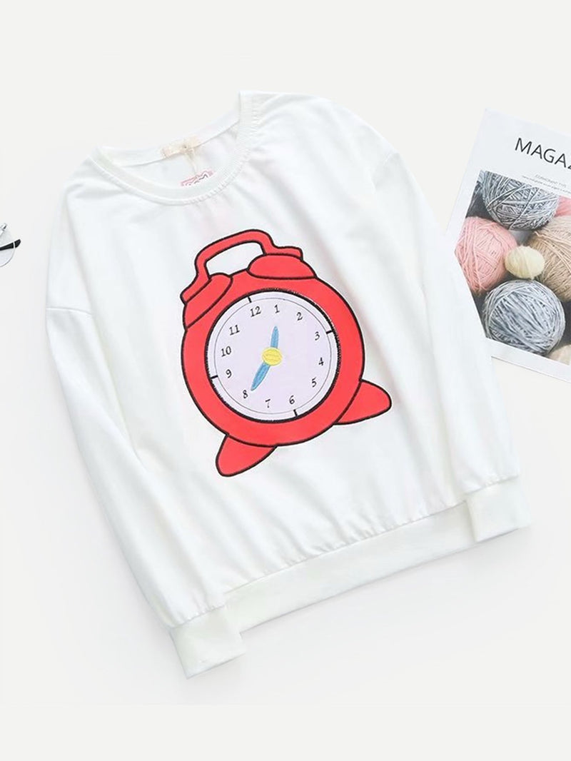 Alarm Clock Embroidered Pullover