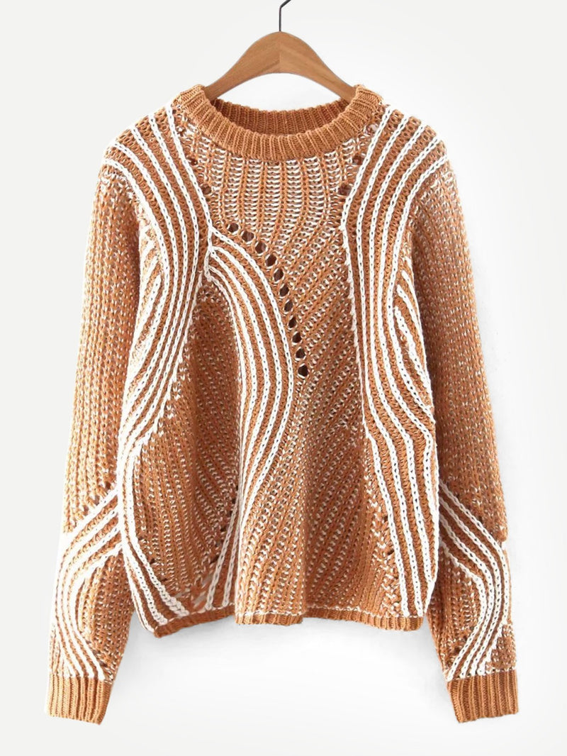 Abstract Stripe Eyelet Sweater