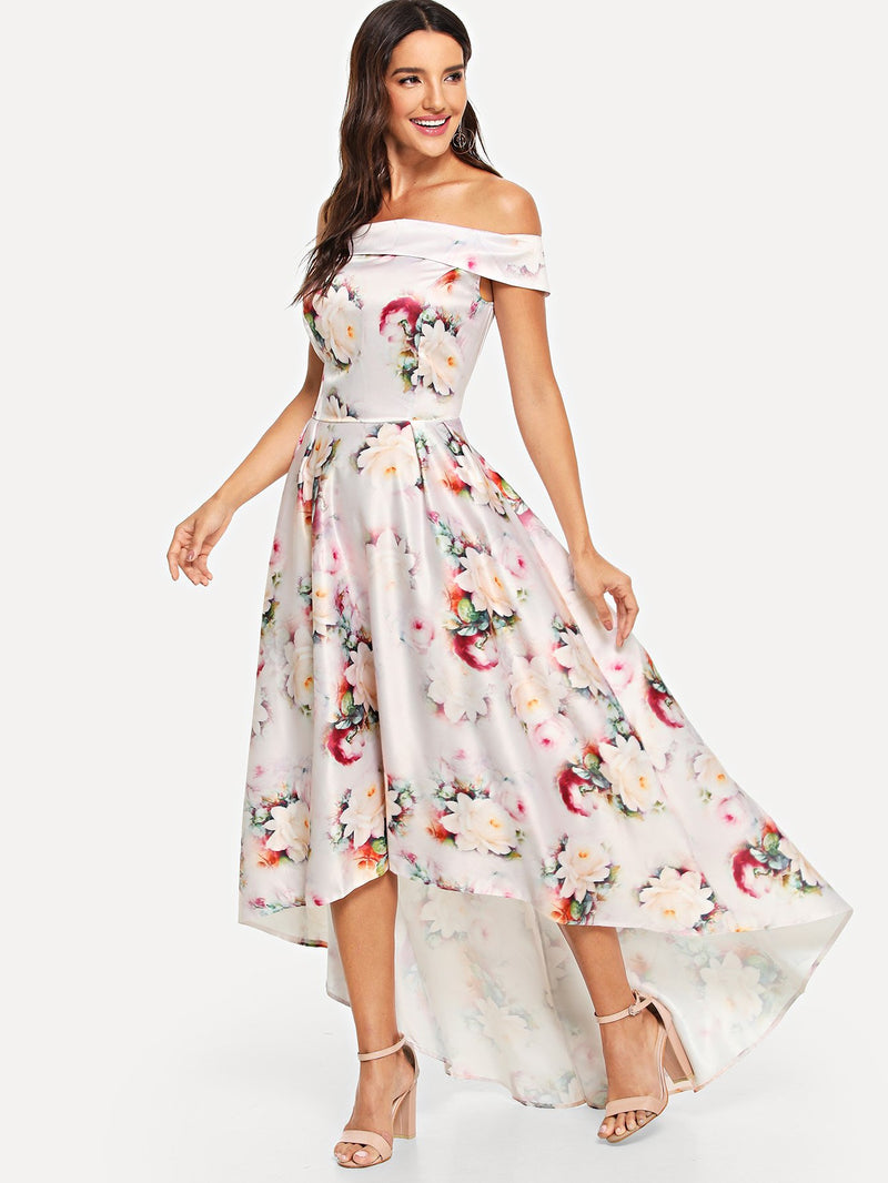 Allover Floral Print Asymmetric Hem Dress