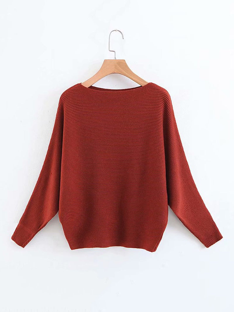 Batwing Sleeve Ribbed Jumper