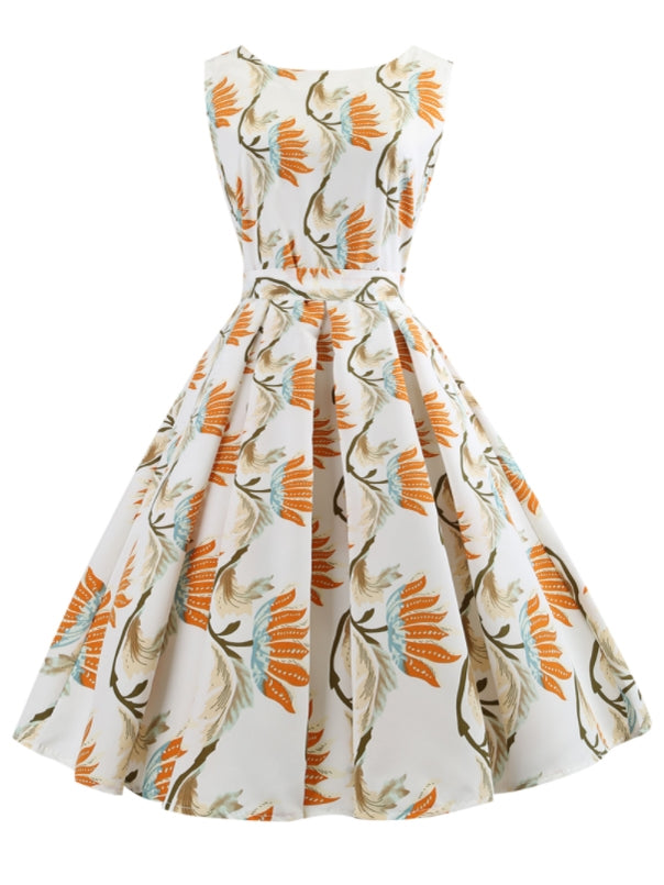 Allover Floral Print Pleated Dress