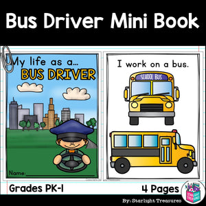 Bus Driver Mini Book for Early Readers - Careers and Community Helpers