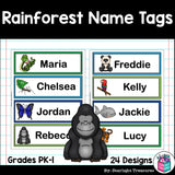 Rainforest Name Tags - Editable
