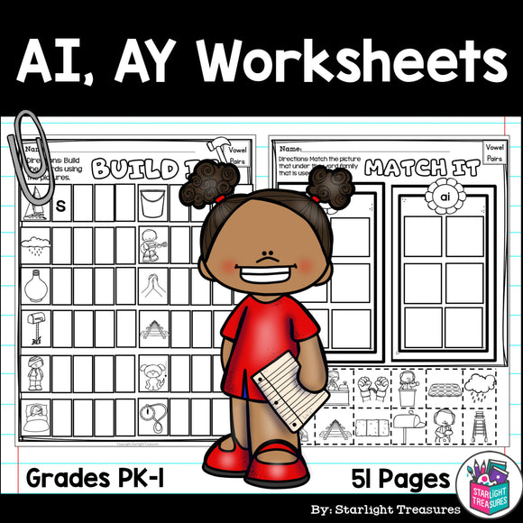 Vowel Pairs AI, AY Worksheets and Activities for Early Readers