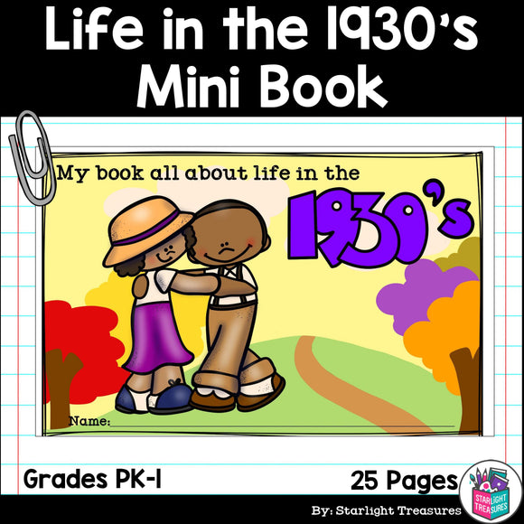 Life in the 1930s Mini Book for Early Readers