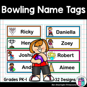 Bowling Name Tags - Editable
