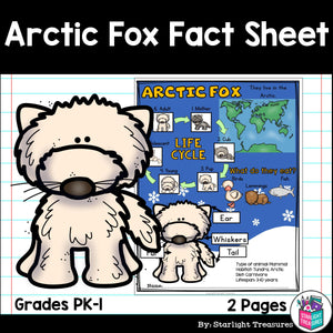 Arctic Fox Fact Sheet for Early Readers