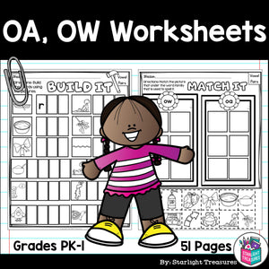 Vowel Pairs OA, OW Worksheets and Activities for Early Readers