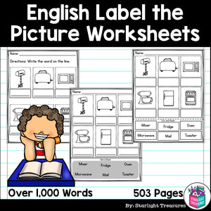 Label the Picture Worksheets