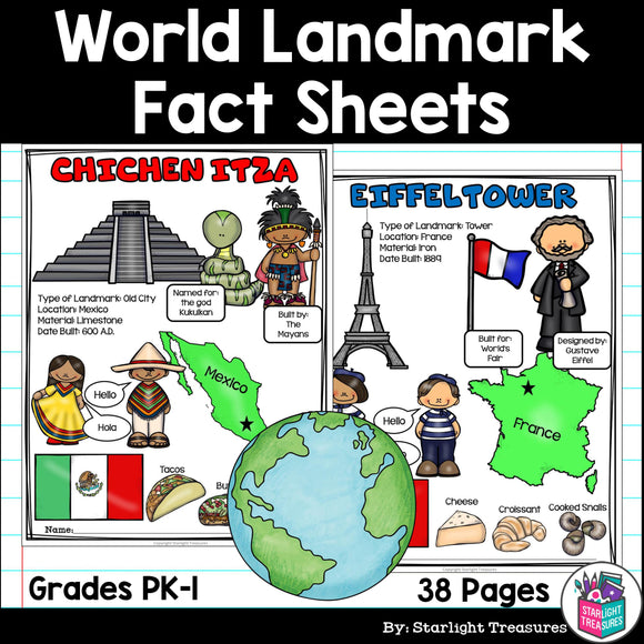 World Landmark Fact Sheets for Early Readers
