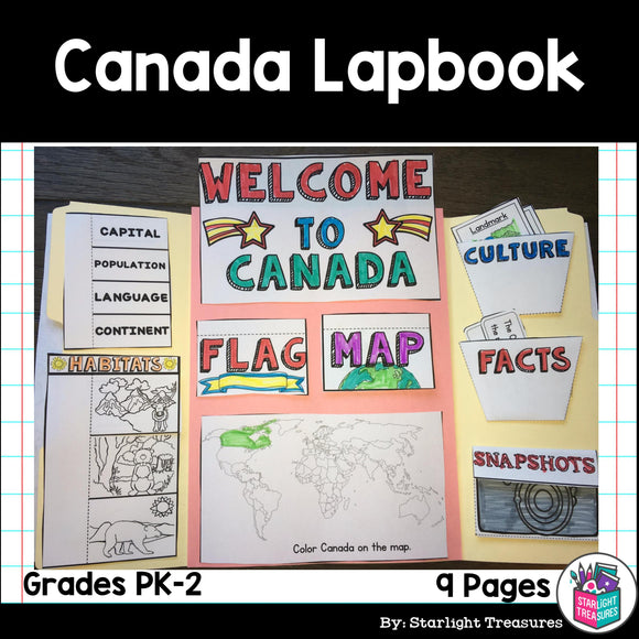 Canada Lapbook for Early Learners - A Country Study