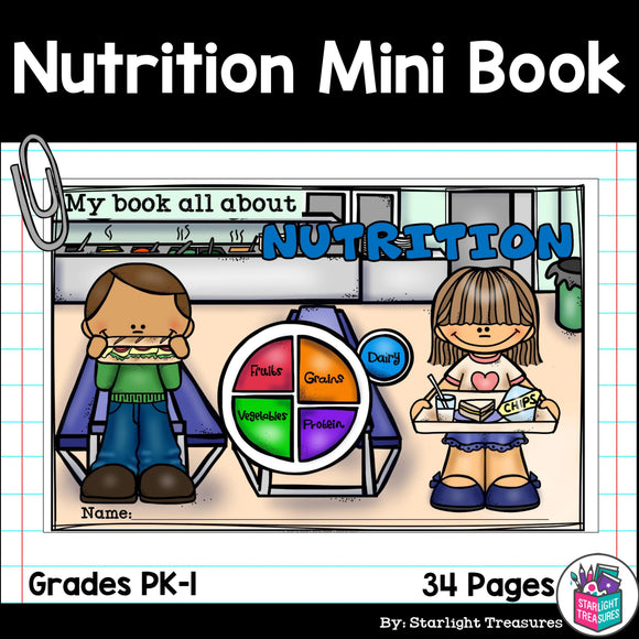 Nutrition Mini Book for Early Readers - Food Pyramid, MyPlate
