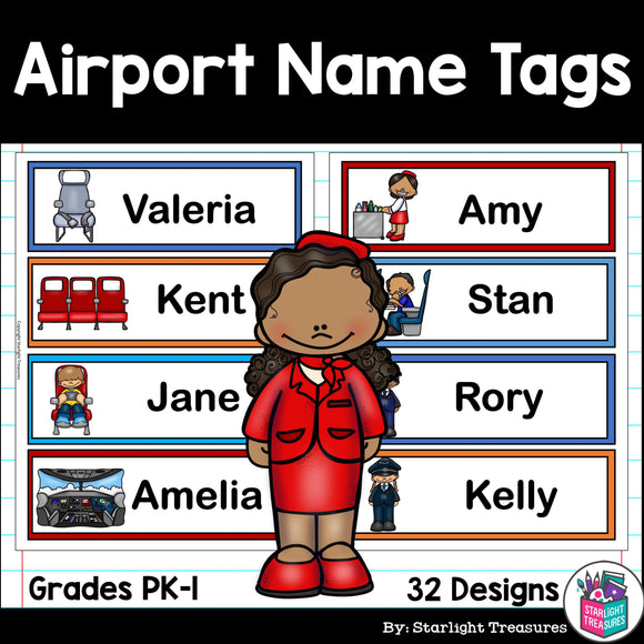 Airport Name Tags Classroom Decor